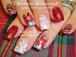robin moses nail art christmas poinsetta nail art xmas flower