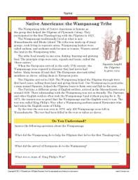 thanksgiving worksheets the wampanoag tribe