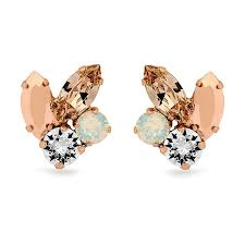 cluster stud earrings white opal cluster stud earrings in gold by ronza