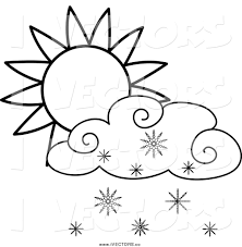 vector graphic of a lineart sun and snow cloud by pams clipart 1300