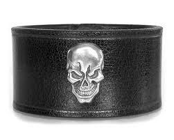 black leather skull bracelet images Skull medallion black leather wristband lucky dog leather jpg