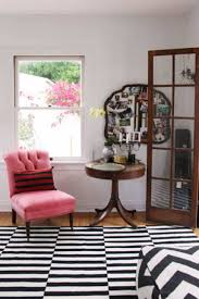 Pink Accent Table Pink Tufted Slipper Chair With Striped Pillow And Pedestal Accent