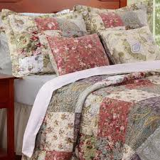 french country cottage floral cotton quilt pillows set luxury