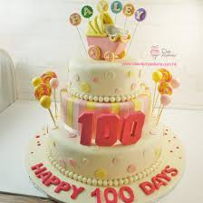 baby carriage cake 100 days 3 layers baby carriage cake pink color 100 days