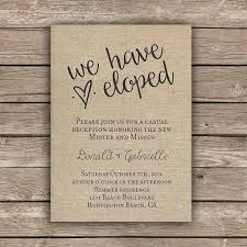 wedding re printable elopement reception invitation by melliebellieboutique