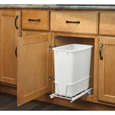 kitchen 35qt pull out waste bin with lid white door mounted with