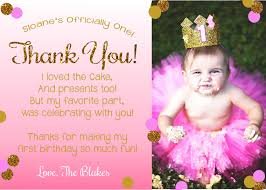pink and gold thank you card first birthday thank you card