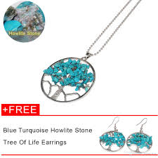natural turquoise stone 2018 natural turquoise stone chips decorated tree of life necklace