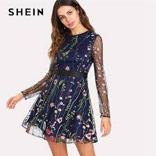fit and flare dress shein floral embroidered mesh overlay fit flare dress 2018