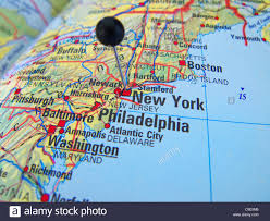 Southampton New York Map by Close Up Of A Black Map Pin On New York At A Map Stock Photo