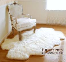 Sheepskin Area Rugs Faux Fur Rug White Sheep Skin Accent 4 Pelt Quatro Design 42x60