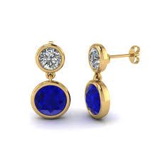 drop earrings gold bezel diamond drop earring with sapphire in 14k yellow gold