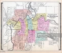 map of allen indiana 1898 fort wayne outline ward map allen county stock