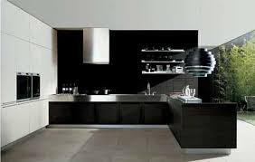 Furniture In Kitchen Modern Black Kitchen Theme With Teak Wood Table And Black Cabinet