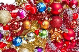 christmas tinsel background made of christmas balls and tinsel stock photo