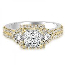 two tone gold engagement rings cttw princess cut halo engagement ring 18k two tone gold