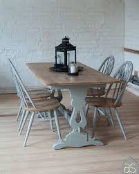 reduced up cycled oak dining table u0026 ercol chairs hand painted in