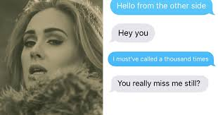 Adele Meme - woman texts her ex using only adele lyrics and the result is