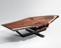 live edge walnut coffee table c table solid black walnut live edge top with metal base