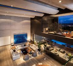 double height living space glass walls exposed concrete stylish