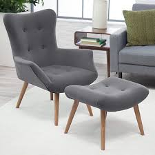 appealing modern chair and footstool ottoman set mid century