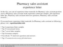 Pharmacy Assistant Duties Resume Pharmacysalesassistantexperienceletter 140828122549 Phpapp01 Thumbnail 4 Jpg Cb U003d1409228773