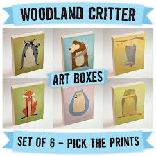 woodland critter art boxes set of 6 ready to hang art pick the