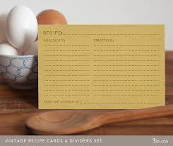 printable recipe cards and recipe box dividers vintage look 4x6