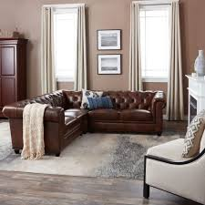 Abbyson Sectional Sofa Abbyson Living Tuscan Tufted Top Grain Leather 3 Sectional
