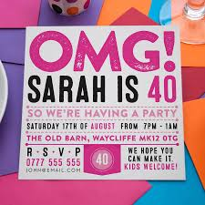 party invitations omg personalised party invitations by a is for alphabet