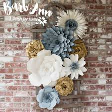 paper flowers gray gold paper flower set barb designs