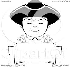 colonial boy coloring page cartoon clipart of a black and white colonial boy over a blank