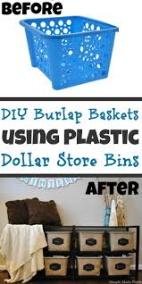 diy burlap baskets using plastic dollar store bins dollar store