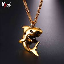 necklace pendants wholesale images Kpop stainless steel shark pendant necklace gold black color jpg