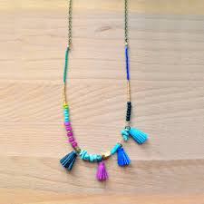 blue seed turquoise leather tassel necklace in magenta and blue seed beaded j