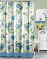 Large Shower Curtains Blue Floral Garden Fabric Shower Curtain By Lenox Curtainshop