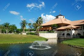 spanish style resort building at a country club miami florida