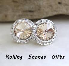 large stud earrings 15mm light silk studs silver earrings swarovski surrounds