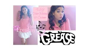 frenchy grease diy halloween costume hair u0026 makeup youtube