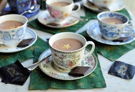 festive and frivolity tea cup after eight chocolate mint mousse