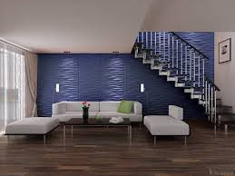 living room under stairs with blue wall 3d wallpaper cool 3d