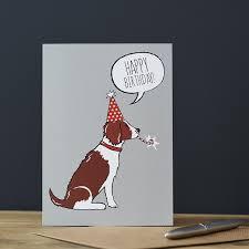 springer spaniel liver u0026 white birthday card 2 75 mischievous