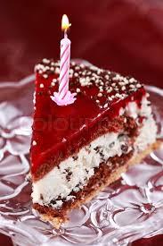 Delicious Stracciatella Birthday Cake With Candle Stock Photo