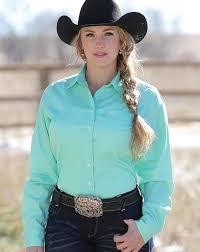 cinch women u0027s long sleeve solid button down shirt mint green