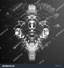 Futuristic Style Abstract Vector Mesh Background Sphere Bioluminescent Stock Vector