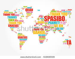 thank you many languages world map stock vector 618600509