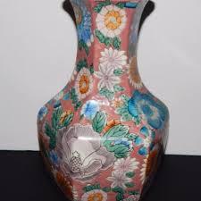 Hand Painted Vase Vintage Oriental Hexagon Floral 14 U2033 China Embossed Hand Painted