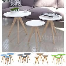 white vintage coffee table nest of tables scandinavian matt white grey retro coffee side table