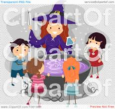 halloween coldren background clipart halloween witch and stick kids around a cauldron royalty