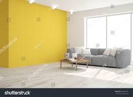 yellow room sofa scandinavian interior design stock illustration